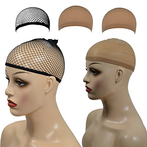 3 Stück elastische Perücke Kappen Nylon Neutral Nude Beige Black Mesh