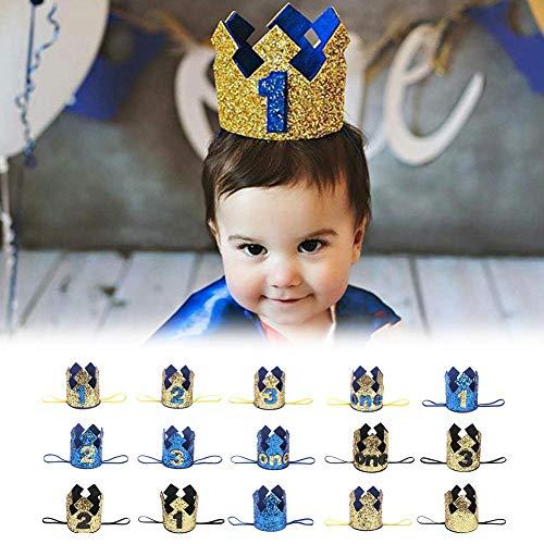succeedw Baby Compleanno Cappello Bambino Primo Compleanno Cappello Glitter Princess Crown 2 Anni Festa Baby Decorazione Fascia Bambino Regali Blu Oro E: Blue Crown Diamond (Nummer 1)