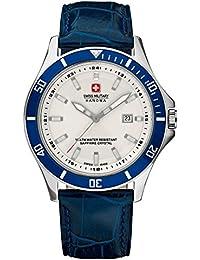 Swiss Military Hanowa - Reloj analógico de cuarzo para hombre con correa de piel, color azul