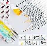 Sconosciuto Generic 20PCS nail art manicure pedicure Beauty painting Drawing marmorizzazione dettagli Polish Brush dotting Pen Tool set for Natural false