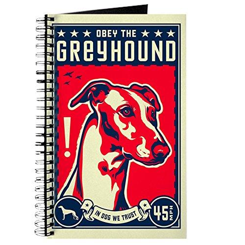 CafePress–OBEY THE Greyhound. Tagebuch/Skizzenblock, Spiralbindung Notizbuch, persönliches Tagebuch, Aufgabe Tagebuch