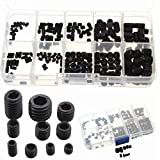Socket (cabeza Allen M3 M4 M5 M6 M8) hexagonal Grub Screw Set Surtido Kit Negro de aleación de acero (200pcs)
