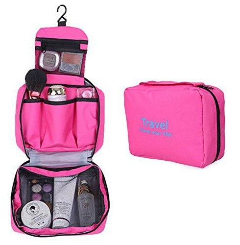 Hot Pink Unisex Damen Herren Kulturbeutel - Aeeque® Multifunktionale zum Aufhängen Faltbar Wasserdicht Kosmetiktasche Kulturtasche Waschbeutel für Reisen / Urlaubsreise / Geschäftsreise