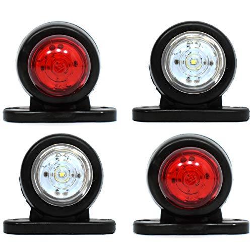 Feux de position latéraux arrière blancs/rouges à LED pour remorque, bus, SUV, caravane, camionnette, 12 V, lot de 4