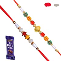 Maalpani Rakhis - Handcrafted 2 Beadi Set,Small Size,(CSC022, Multicolour)