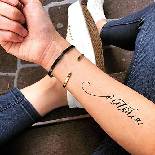 Victoria autocollant de faux tatouage temporaire (Lot de 2) - www.ohmytat.com