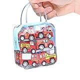 6 Pcs Kinder Auto Spielzeug, Push and Go Fahrzeugset, Reibungskraft Toy Cars Fahrzeuge Set für Kleinkinder Geschenk (Rot)