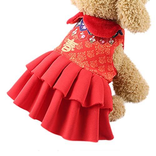 Etophigh Pet Coat Outfit Outdoor-Bekleidung Chinese New Year Traditionelles Segen-Kostüm für kleine mittelgroße Hunde (Kostüme Französische Traditionelle)