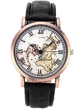 JSDDE Uhren,Retro Weltkarte Armbanduhr Römische Ziffern Bronze Gehäuse Lederband Kleid Analog-Quarz-Uhren,Schwarz