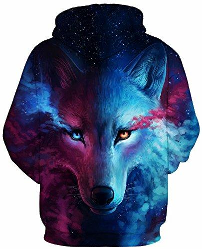 TDOLAH Herren Bunt Digitaldruck Kapuzenpullover 3D-Druck Hoodie Langarm Pullover Sweatshirts B-Fuchs