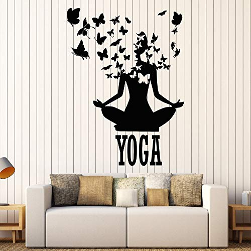 guijiumai Lotus Meditation Buddismo Adesivi murali in Vinile Decor Yoga Center Pose Sticker Rimovibile Design Impermeabile Adesivo S 8 57X71cm