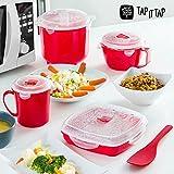 Appetitissime  Tap It Tap - Set de Cocina Al Vapor para Microondas (11 piezas) Rojo