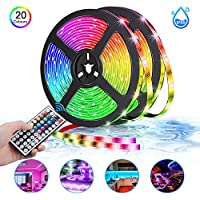 LED Strips Lights, Sunvook Strips Light 10m/32.8ft 300 LED 5050 RGB Lighting IP65 Waterproof Dust-Proof LED Lights with 44 Keys Remote Control for Indoor and Outdoor Decoration (10m)