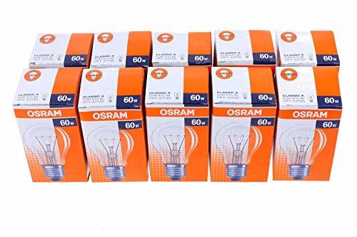 Osram Glühlampe Birnenform, 10er, 60 Watt, E27, klar, 30800005