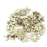 Sharplace 50 Stück Holzherzen Holz Verzierung für Hochheitsdeko Tischdeko Streudeko DIY Handwerk - Blume Formen