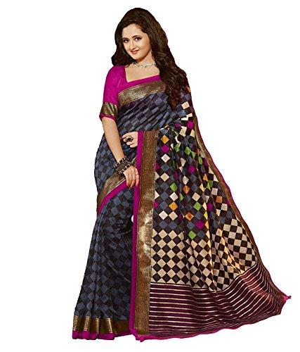 B4Best Creation Women\'s Art silk Saree (hans_RashmiPrint_Blue)