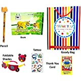 Birthday Popper Animal Pack - Set of 6 for Birthday Party Return Gifts for Kids + Free Goody Bag + Thank You Card