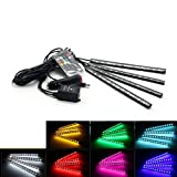 Car LED Strip Light 4pcs 48 LED DC 12V Multicolor Music Car Interior Light LED Under Dash Lighting Kit with Sound Active Function and Wireless Remote Control, Car Charger Included