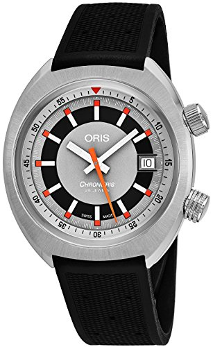 Oris Chronoris Date Mens Stainless Steel Automatic Watch - 39mm Analog Grey Face Black Rubber Band Swiss Luxury Automatic Watch For Men 01 733 7737 4053-07 4 19 01FC