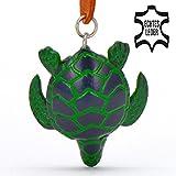 Schildkröte Helga - Landschildkröten Schlüsselanhänger Figur aus Leder von Monkimau in grün - Dein bester Freund. Immer dabei! - 5x2x4cm LxBxH klein, jeweils 1 Stück
