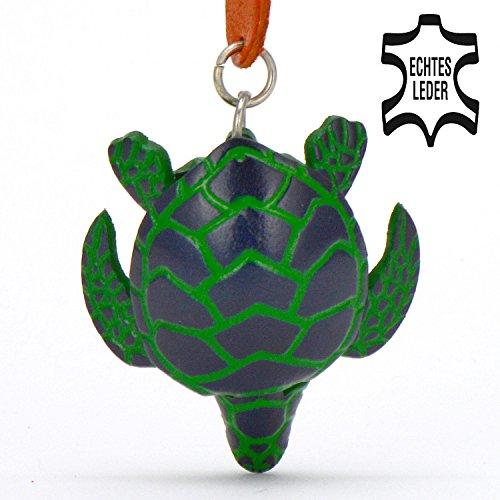 Schildkröte Helga - Land-schildkröten Deko Schlüssel-anhänger Figur aus Leder in Schmuck / Zubehör / Stofftier von Monkimau in grün - Dein bester Freund. Immer dabei! - ca. 5cm klein
