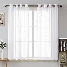 deconovo lot de 2 rideau 140x175cm voilage blanc jacquard orn des motifs petits pois enfant rideaux