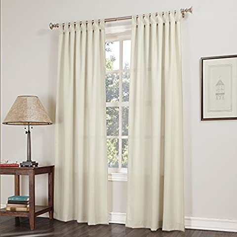 No. 918 Trevor Semi-Sheer Tab Top Curtain Panel, 40 x 84 Inch, Ecru Beige by No. 918