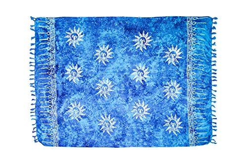 MANUMAR Damen Pareo blickdicht, Sarong Strandtuch in türkis-blau mit Sonne Motiv, XL 175x115cm, Handtuch Sommer Kleid im Hippie Look, für Sauna Hamam Lunghi Bikini