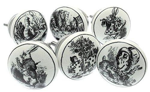Juego de 6pomos de cerámica para armario de 'Alicia en el país de las maravillas', estilo vintage (MG-28). Producto registrado de 'Mango Tree' TM