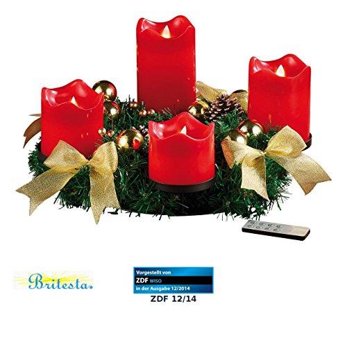 Tannenzapfen-kerze Kranz (Britesta Künstlicher Adventskranz: Adventskranz, golden, 4 rote LED-Kerzen mit bewegter Flamme (Weihnachtsdeko-Kranz))