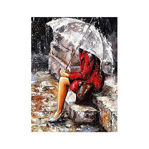 CJJYS Stöckelschuhe Mädchen in theRain, Regenschirm, sitzend auf TheDiamond Bemalung DIY Materialpaket Voller Diamant Harz Runde Diamant Volle Aufkleber, A