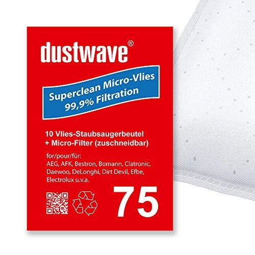 Sparpack - 10 Staubsaugerbeutel geeignet für Numatic - JVC 225 James Bodenstaubsauger von dustwave® Markenstaubbeutel – Made in Germany + inkl. Microfilter