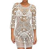 TUDUZ Damen Boho Strand Einzigartig Bikini Cover Up Crochet Sommerkleid StrandKleid (Weiß)