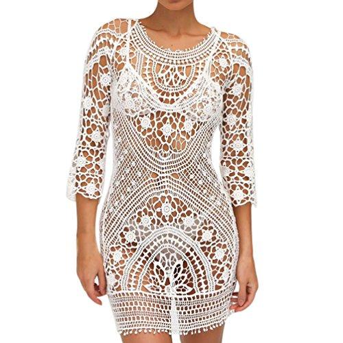 Mitlfuny Badeanzug  Aufdecken Häkeln  Spitzen Bikini Badeanzug Kleid (White)