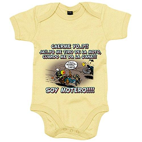 Body bebé yo me tiro de la moto cuando me da la gana soy motero - Amarillo, 12-18 meses