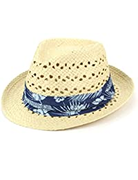 Hawkins Straw Trilby Fedora Hat with Woven Ventilation and Hibiscus Floral  Band f9187060f002