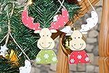 Kamaca 4 er Set (= 4 Stück) Handbemalte Holz - XL - Aufhänger- Elch/Rentier Weihnachten - Höhe je 24 cm - inkl Bändchen/Sternenschmuck für Den Weihnachtsbaum Oder Adventskranz - Deko