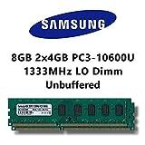 Samsung 8 GB (2 x 4 GB) Dual-Channel Kit DDR3 1333 mhz (PC3 10600U) lo COMPUTER PC Desktop lavoro memoria DIMM RAM Memory
