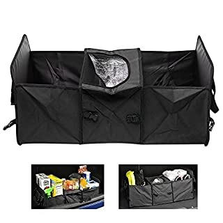 INHDBOX Oxford Fabric Vehicle-mounted Containing Box,Heavy Duty 2 in 1 Car Boot Organiser Shopping Tidy Collapsible Foldable Storage (Black)