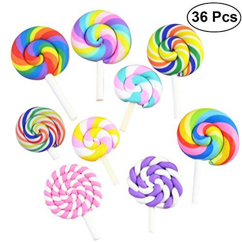 ULTNICE 36Pcs Lutscher Prop Clay Süßigkeiten Verschönerung Rainbow Swirl Lollipop Lolly Random