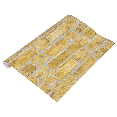 Zhzhco Selbstklebende Hintergrund Wand Landschaftsgestaltung Wohnzimmer Schlafzimmer Möbel Renovierung Aufkleber Verdicktes Material Tridimentional Yellow Brick Muster 50Cm 250Cm