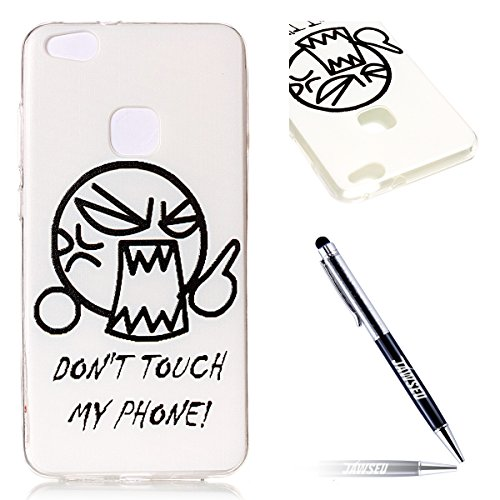 Huawei P10 Lite Custodia, Cover Huawei P10 Lite in Silicone TPU Transparente, JAWSEU Creativo Disegno Super Sottile Cristallo Chiaro Custodia per Huawei P10 Lite Corpeture Case Antiurto Anti-scratch S DON'T TOUCH MY PHONE'