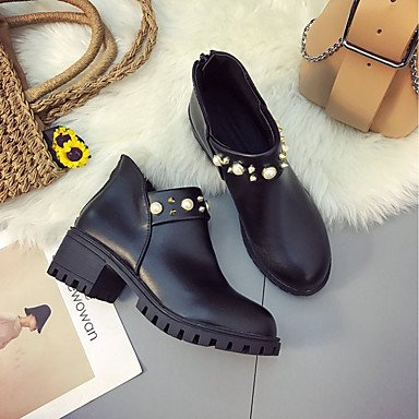 RTRY Scarpe donna pu molla rientrano la comodità di moda Stivali Stivali Chunky tallone punta tonda Babbucce/stivaletti di abbigliamento casual marrone scuro nero US8 / EU39 / UK6 / CN39