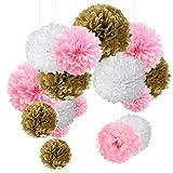 15er Set Pompoms Deko Bunt Seidenpapier Pompons für Hochzeit, Geburtstag, Party Gold Rosa Weiß (3pcs*30.5cm/6pcs*25cm/6pcs*15.5cm)