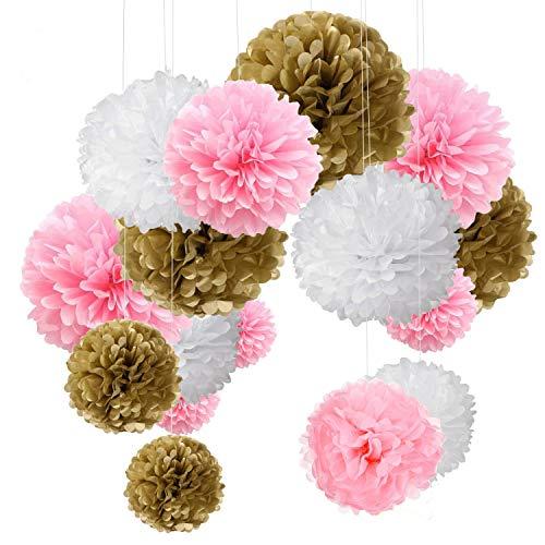 o Bunt Seidenpapier Pompons für Hochzeit, Geburtstag, Party Gold Rosa Weiß (3pcs*30.5cm/6pcs*25cm/6pcs*15.5cm) ()