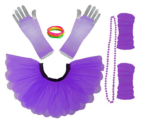 Neon 80s Tutu and Accessories Set - Plus Size 16-22 with elasticated waist - 9 Colours