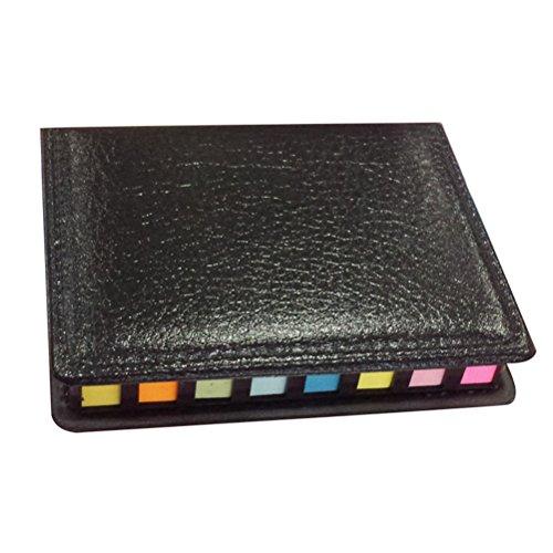 NUOLUX Notizzettel selbstklebende farbige Haftstreifen mit PU Etui zum Schreiben
