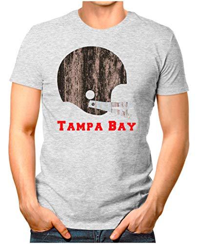 OM3® - Tampa-Bay-Helm - T-Shirt   Herren   American Football Shirt   3XL, Grau Meliert