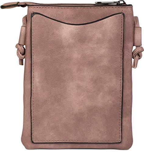 styleBREAKER borsa mini a tracolla con motivo a intaglio a zigzag e borchie, borsa da spalla, borsetta, donna 02012211, colore:Nero Rosa antico