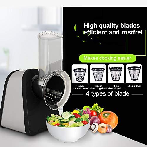 Electric Küchenreiben Schnitzelwerk Salad Maker Zerkleinerer Food Reibe Slicer/Elektrische Reibe/Chopper mit 4 Edelstahl-Einsätze, 200W - Schwarz (S)